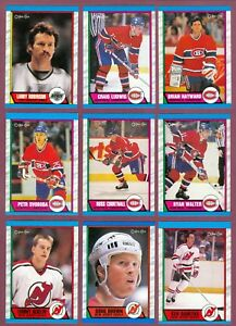 1989-90 OPC O PEE CHEE NHL HOCKEY CARD 221-330 & BOX BOTTOM & WRAPPER SEE LIST