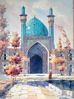 """Magnifique aquarelle"""" Mosquée Bleue de Téheran"""" signée Arthur.S et datée 59"""