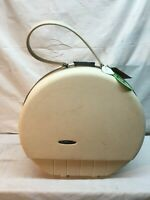 "Vintage Sears Round Forecast Suitcase  White 16"" Hard Case Luggage - Mid Century"