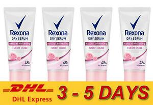 4 x Rexona Dry Serum Natural Whitening Fresh Rose 48 Hour Anti - Perspirant 50ml