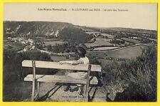 cpa Alpes Mancelles 72 ST LÉONARD des BOIS (Sarthe) Coin des TOURISTE Femme Banc
