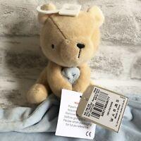 BNWT NEW TU BLUE BEIGE TEDDY BEAR BABY COMFORTER BLANKET SOFT HUG TOY BLANKIE