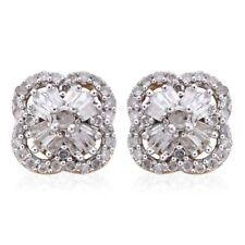 Fabulous Diamond Flower Stud Earrings in 14K Gold O/Lay Sterling Silver 0.50 cts