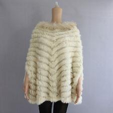New Women Fashion REAL Rabbit Fur Shawl Waistcoat Cape Poncho Jacket
