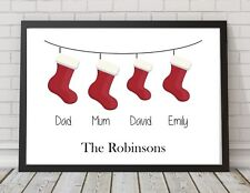 Christmas Stocking Personalised Family Gift A4 Print Poster PO185