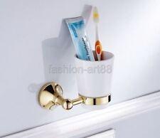 Gold Color Brass Bathroom Toothbrush Holder Set Single Ceramic Cup fba877