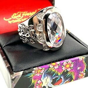 Authentic Ed Hardy Love Kills Slowly White CZ Stainless Steel Ring Size 7-14