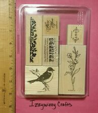 Stampin Up FRIENDS 24-7 elegant floral bird out on branch border accent (1522)