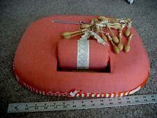 Vintage Lace Making Pillow Box Lap Board~8 Wood Lace Bobbins & Lace!
