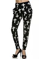 Black White Cross Print Womens Stretch Casual Harem Pants w/Pockets Sz S/M