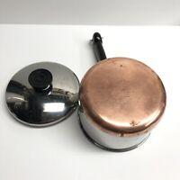 Vintage Revere Ware Copper Bottom 1 1/2 (1.5) Quart Saucepan Pot With Lid (8)