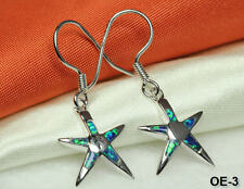 925~Beautiful Opal Inlay~Oe-3~Maxxw Beautiful Star Earrings~Sterling Silver