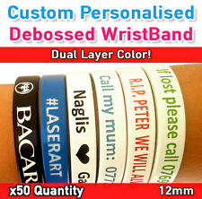 School Leavers Memory Gift - Personalized Silicone Wristband Dual Color x50