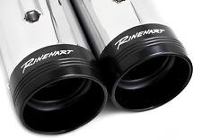 """Rinehart Chrome MotoPro45 4.5"""" Slip-On Mufflers Exhaust Pipes 17+ Harley Touring"""