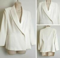 Vintage 90's Zara White Corporate Blogger Occasion Blazer Jacket Medium 10-12 C3