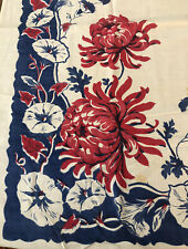 """Small Vintage Red, White & Blue Cotton Floral Tablecloth~38"""" X 39"""""""
