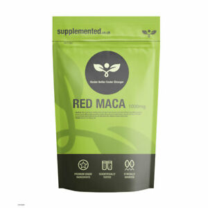 Red Maca Root Extract 1000mg 180 Tablets Vegan Gelatinised Supplement Libido