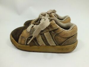 Stride Rite Sprout Boys Leather Skater Tennis Shoes Brown Stripe Size 7.5 Wide
