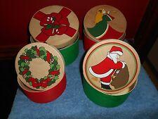 WOOD NESTING BOXES VINTAGE LILIAN VERNON HAND PAINTED ROUND CHRISTMAS BOX SET