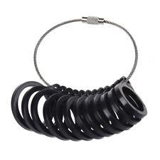 Plastic Uk Finger Sizer Ring Gauge L - W Black X4B2