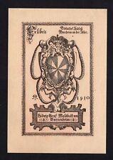 16)Nr.058- EXLIBRIS- Heraldik / heraldry - Künstler unbekannt/artist unkn. -1910