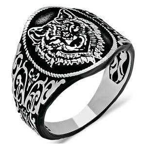 Solid 925 Sterling Silver Bozkurt Gray Wolf Men's Ring