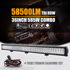 "TRI ROW 36INCH 585W CREE LED LIGHT BAR SPOT FLOOD CAR BOAT DRIVING 4X4-WD 37"" US"