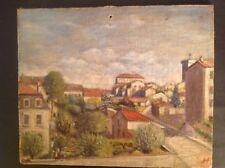 Tableau Ancien Huile Impressionniste Paysage Urbain Saint Irénée Lyon signé