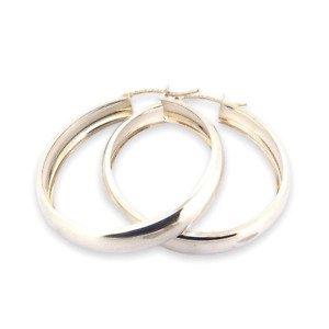 .Vintage Classic Large Mexican Sterling Silver Hoop Earrings 5.3g