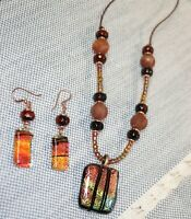 Handmade Necklace and Earring Set Dichroic Glass Jasper Agate and Leather