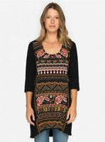 Johnny Was Waleska Black Embroidered Woven Panel Dress/Tunic #J30717 New Boho