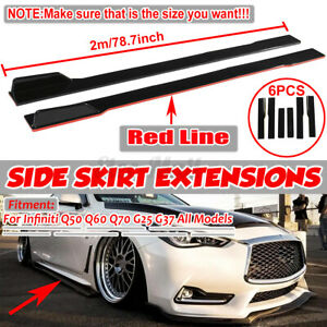 78.7'' Side Skirts Extensions Splitters Red Line For Infiniti Q50 Q60 Q70 G25