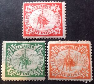 Sweden Levanger 3 x Local post stamps mint hinged