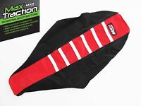 HONDA CRF450 CRF450R 02-04 RIBBED SEAT COVER BLACK + RED + WHITE STRIPES RIBS
