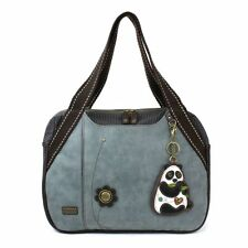 Chala Handbag Bowling Zip Tote Large Bag Indigo Blue Pleather Panda Bear Purse