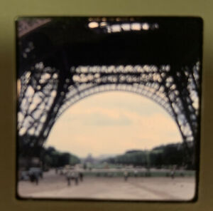 1965 Kodachrome Photo Slide 35mm Eiffel Tower Paris France Kodak Under Close Up