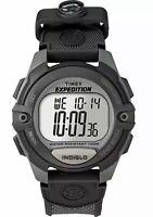 TIMEX Men's 'EXPEDITION' Black INDIGLO CHRONO ALARM TIMER WRIST WATCH - OS NWT