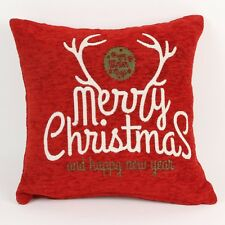 Red & White Filled Antler Cushion Merry Christmas & A Happy New Year XM2604