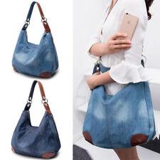 Women Large capacity canvas Denim Shoulder Shopping Handbag jeans Bag New GIHIKJ