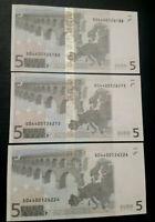 LOTTO 3 BANCONOTE 5 EURO J003 NUMERI SERIE CONSECUTIVI EUROPA ITALIA FDS UNC