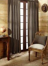 BLACK TAN CHECKS WINDOW PANEL SET : PRIMITIVE KHAKI BROWN PLAID COUNTRY CURTAIN