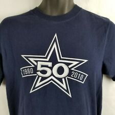 Dallas Cowboys 50th Anniversary 1960 2010 Crewneck T Shirt Blue Medium