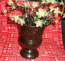 "Decorative Black Metal Floral Vase 7.5"" Tall & Clear Plastic Flowers Decor   359"