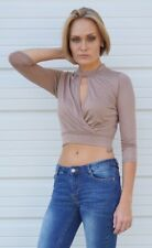 Keyhole Wrap Front Crop Top Long Sleeve Beige White Black Red S M L IRIS IT8723