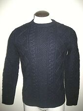 Levi's Mens Fisherman cable crew knit Wool Sweater Navy Blue Size Small NWT