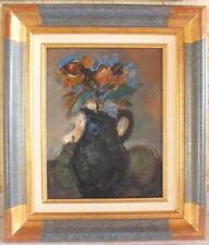 Jordi Bonas hst huile sur toile bouquet vase noir peinture tableau certificat