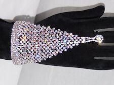 Silver W. AB Crystal Rhinestone Bracelet Slave -Cuff & Attached Ring Set
