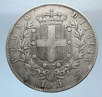1873 ITALY King Victor Emmanuel II Silver 5 Lire Antique ITALIAN Coin i71897