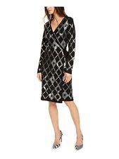 INC Womens Black Long Sleeve Knee Length Wrap Dress Evening Dress XL