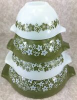 Vintage Pyrex Glass Set 4 Nesting Mixing Bowls Green Spring Blossom Crazy Daisy
